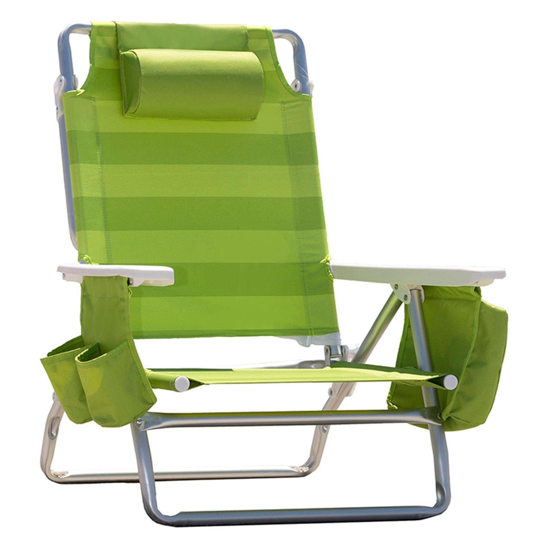 NauticaリクライニングポータブルBeach Chair with断熱クーラー B01A3YH78K Lime Green Stripe Lime Green Stripe