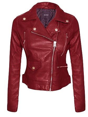 c25a4810679 Instar Mode Women s Long Sleeve Zipper Closure Moto Biker Faux Leather  Jacket Burgundy S