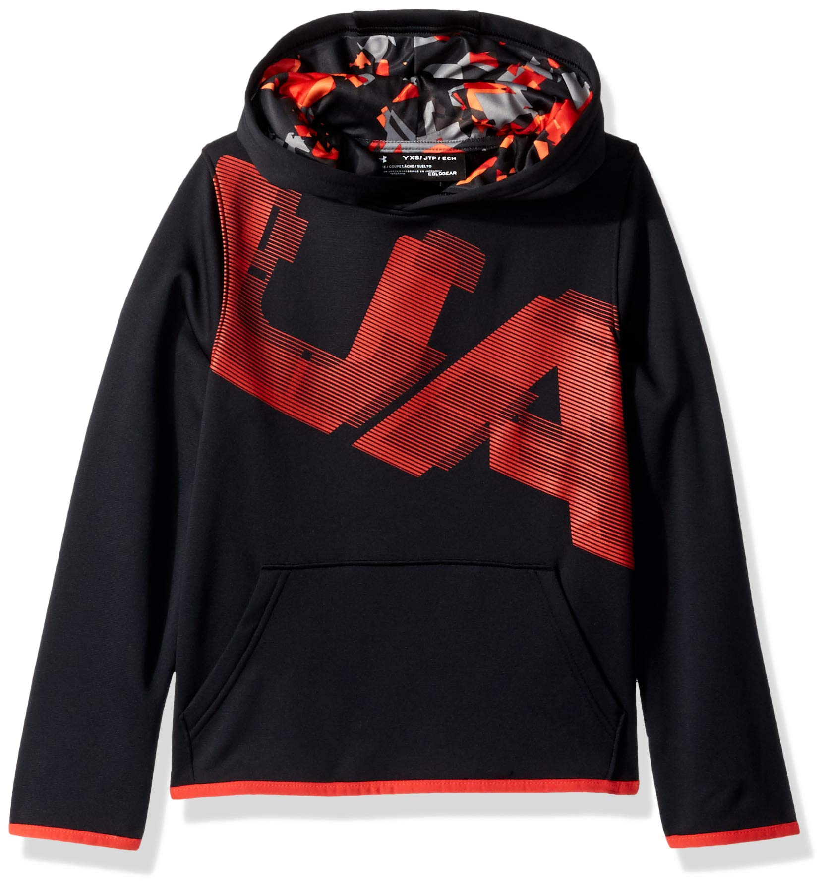 Under Armour Boys Fleece Highlight Printed Hoodie, Black (001)/Radio Red, Youth Small by Under Armour