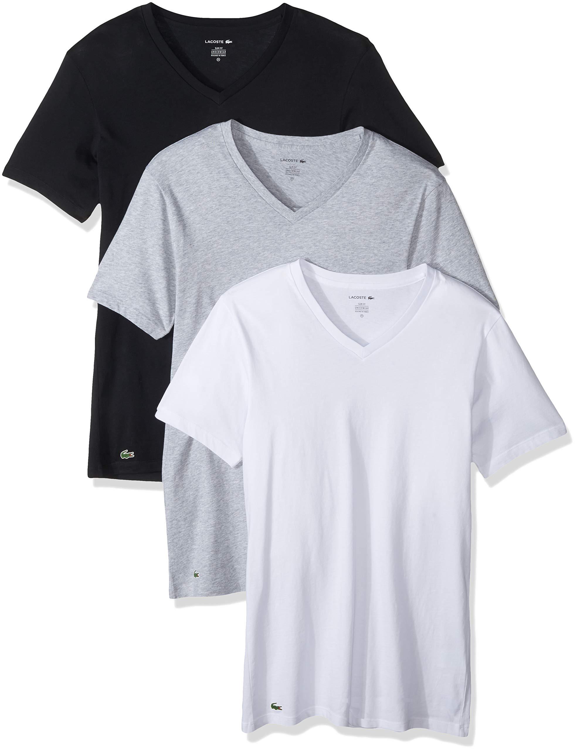 Lacoste Men's 3 Pack Slim V Neck Tee, Black/Grey/White, M by Lacoste