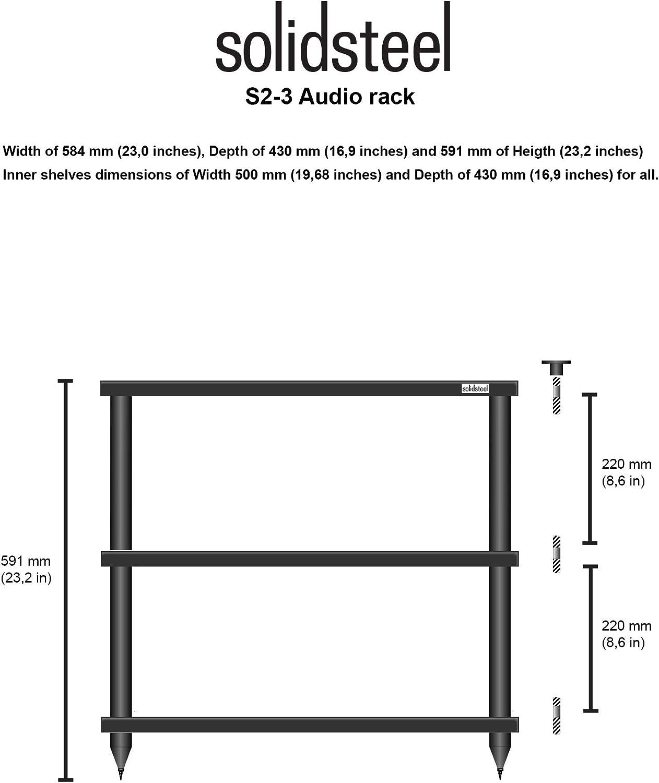 HiFi Rack Solidsteel S2-3 M/öbel Schrank Schwarz Holz 3 B/öden HiFi Tisch HiFi Regal Hergestellt in Italien