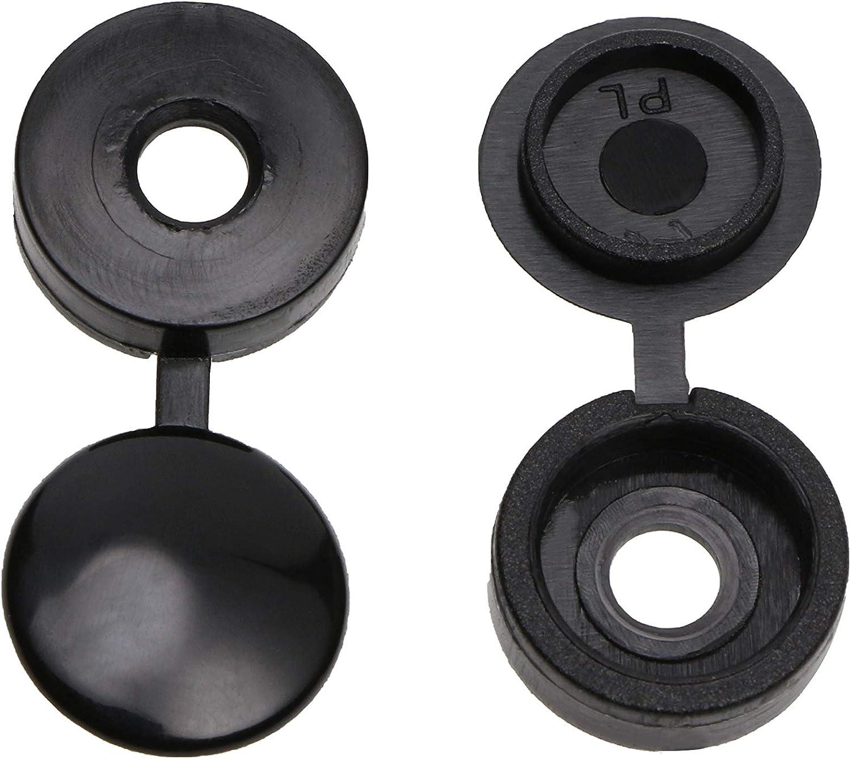Mini Skater Black Nylon Screw Cap Hinged Fold Over Caps Rubber Dust Washer Flip Tops 100