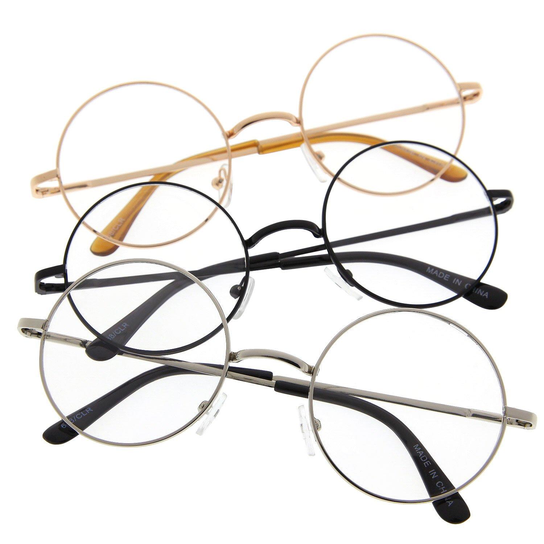 0b99071ddf Amazon.com  John Lennon Inspired Round Clear Lens Glasses Hippy Sunglasses  Vintage 3 Pack  Clothing