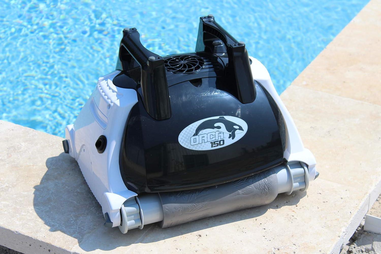 Orca 105998 - Robot limpiador automático para piscina, fondo y pared, color negro y blanco