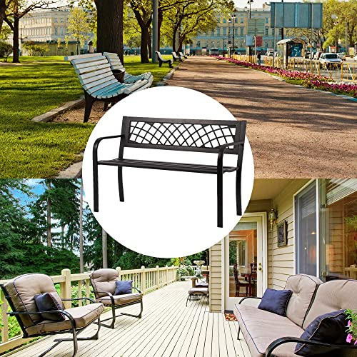 Patio Bench Outdoor Bench Park Bench Garden Bench Metal Sturdy Cast Iron Porch Chair Seat Furniture