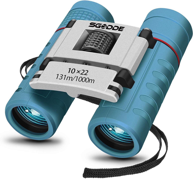 Prismáticos 10x22, SGODDE Binoculares para Niños,Impermeable,Anti-golpes Prismáticos Binoculares Plegable,Mini Prismáticos Portátiles de HD de ...
