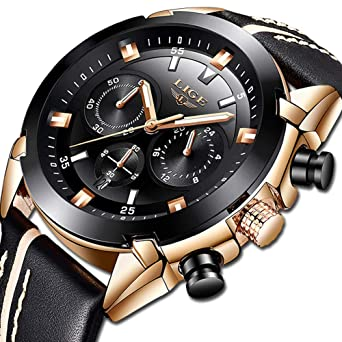 841e46218 Image Unavailable. Image not available for. Color: LIGE Watches for Men  Sports Chronograph Waterproof Analog Quartz Watch ...