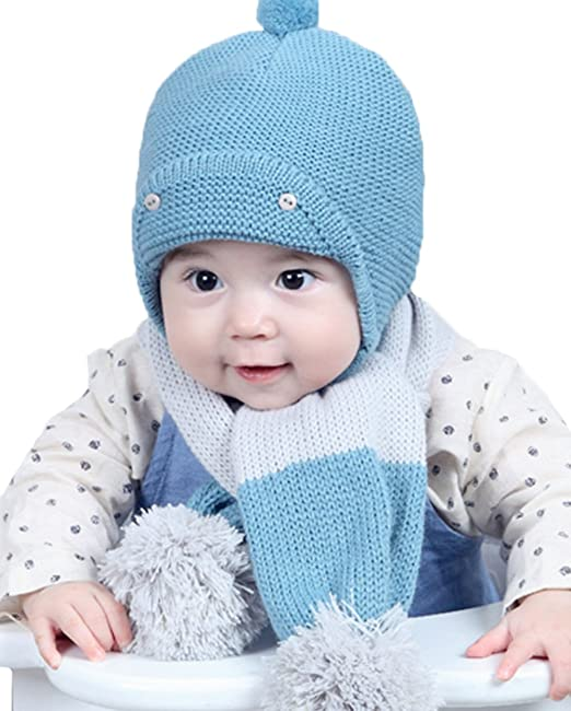 86b3ae332 Amazon.com: Lovely Knitted Wool Crochet Cap and Scarf Baby Girls ...