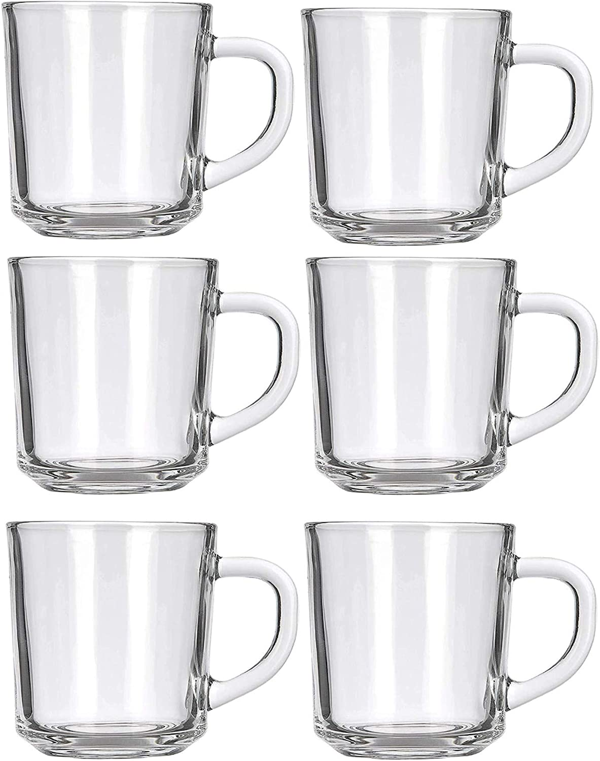 Café Glass Coffee Mugs - Clear, 8 oz Great For Tea, Coffee, Juice, Mulled Wine And More! (6)