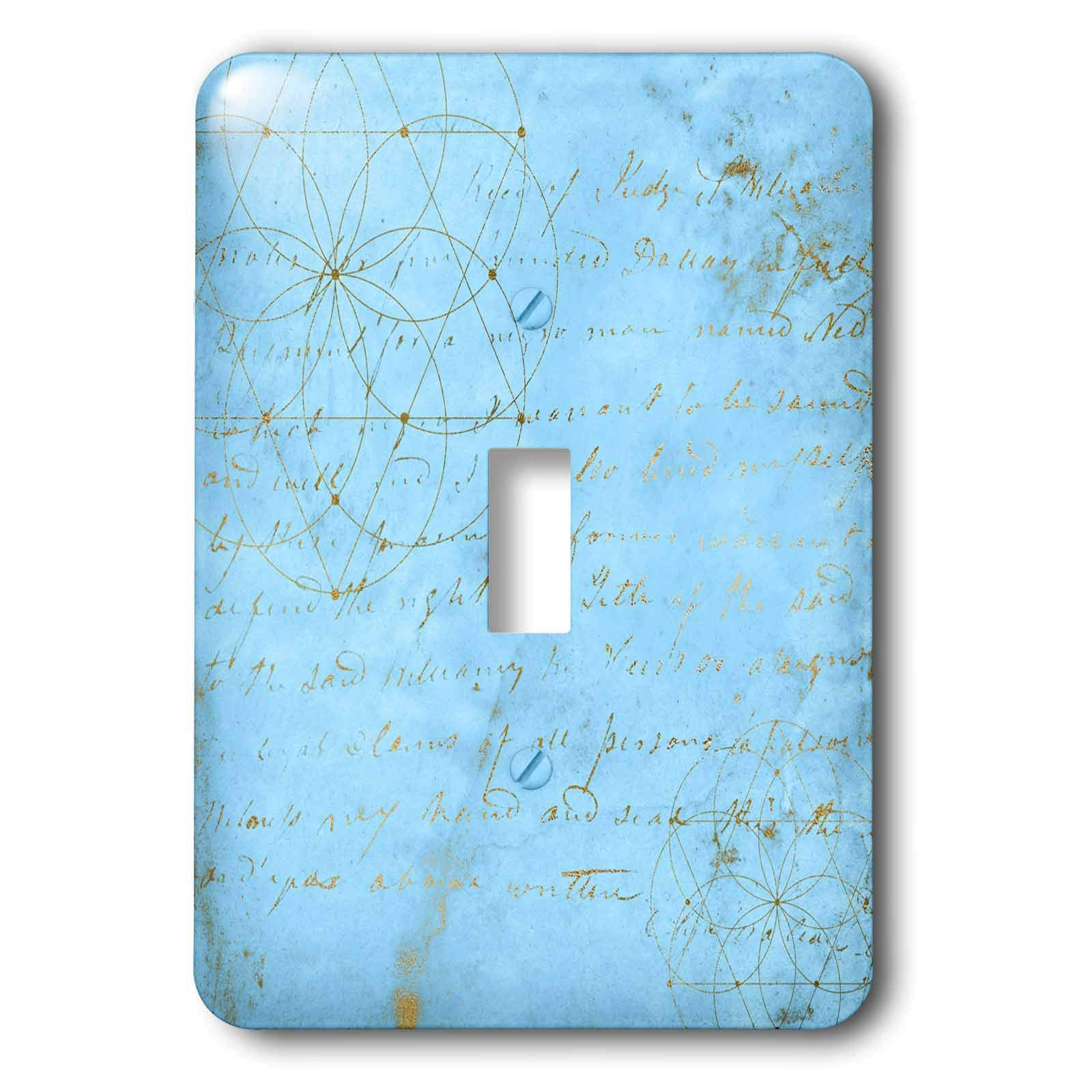 3dRose Uta Naumann Faux Glitter Pattern - Image of Sky Blue and Gold Metal Foil Vintage Luxury Text Pattern - Light Switch Covers - single toggle switch (lsp_290168_1) by 3dRose (Image #1)