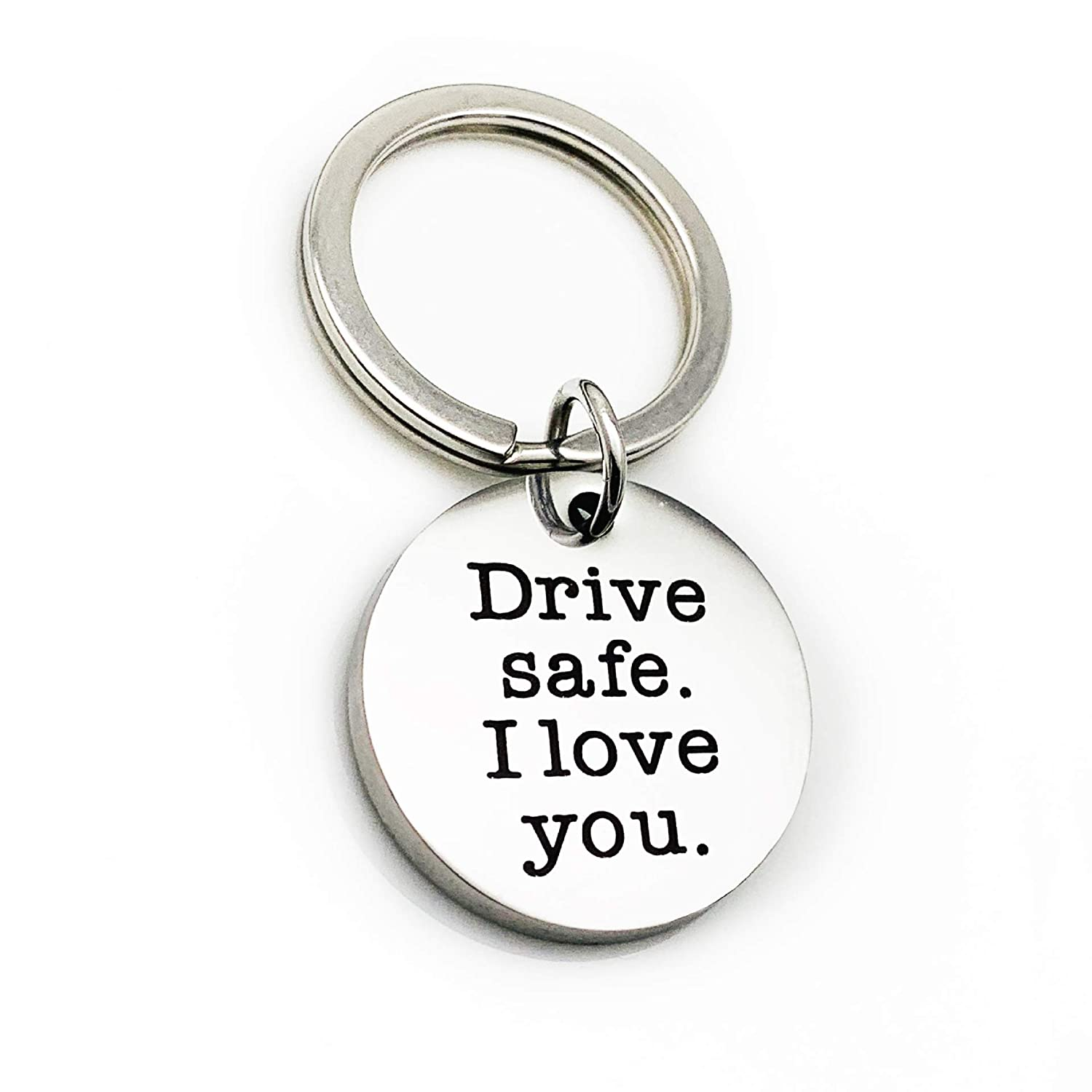 Drive Safe Keychain I Need You Here with Me Trucker Husband Gifts for Dad Father Valentines Day Stainless Steel Keychain
