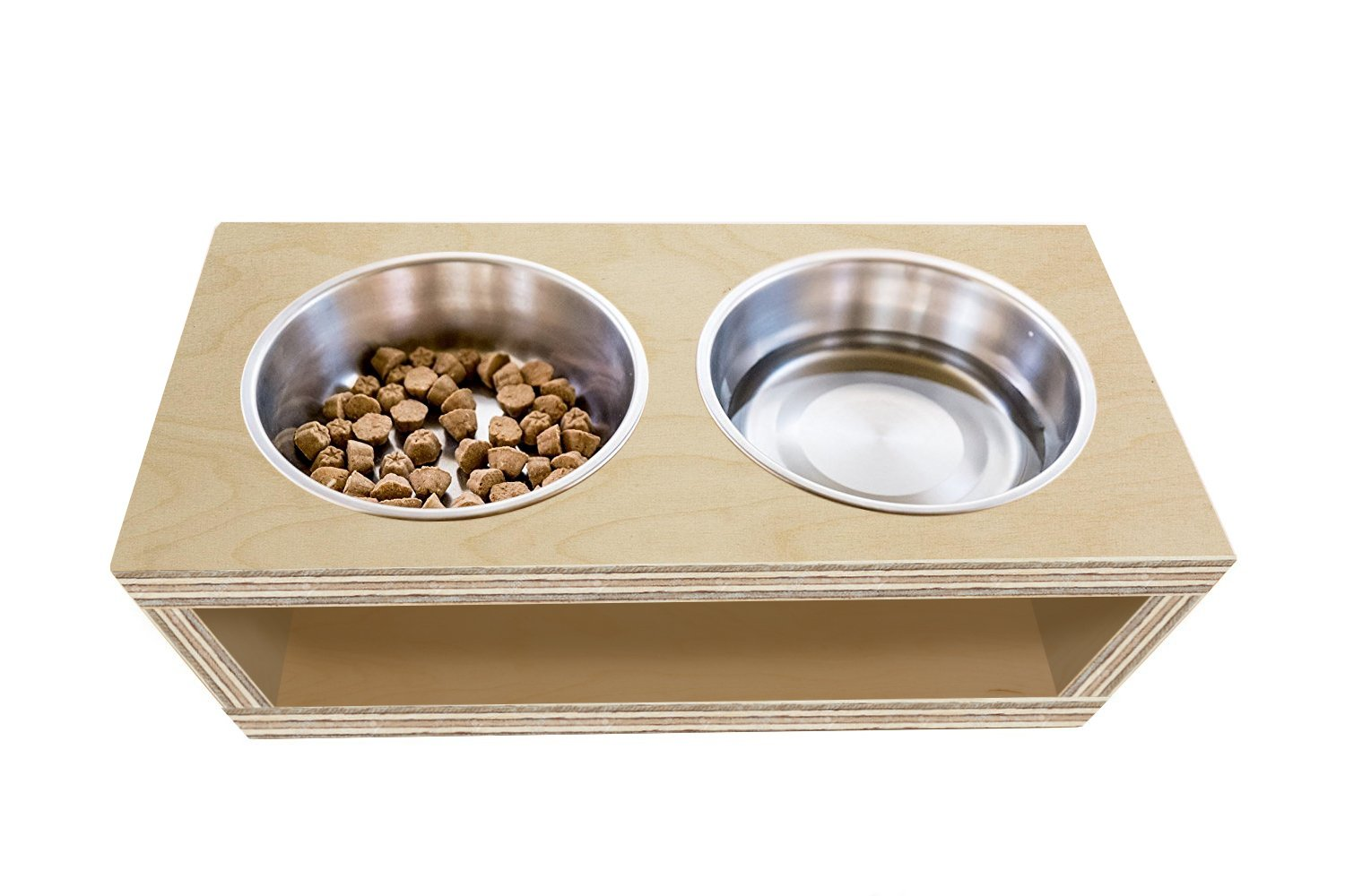 TFKitchen Unfinish Plywood Elevated Dog and Cat Pet Feeder, Double Bowl Raised Stand (3 Quart), 3/4'' Thick, 25'' x 12'' x 10'' Tall