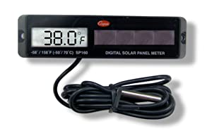 Cooper-Atkins SP160-0-8 Digital Panel Thermometer with Black Rectangular Solar Powered, -58/158° F Temperature Range