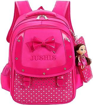 Fanci Heart Prints Bowknot Waterproof Primary School Backpack for Girls Elementary School Bookbag Rucksack with pencil case