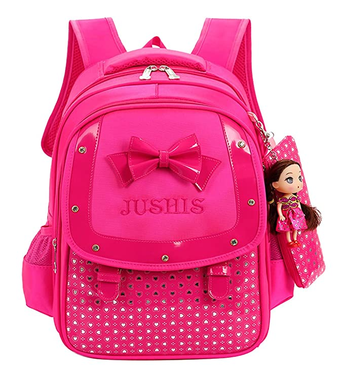 Fanci Cute Bowknot Kids Backpack Sweet princess doll Waterproof Primary School Book bag with pencil case