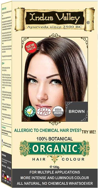 Color de tinte para el cabello a base de hierbas, 100% orgánico, 100% orgánico, marrón para hombres y mujeres 100% sin químicos, sin PPD, sin ...