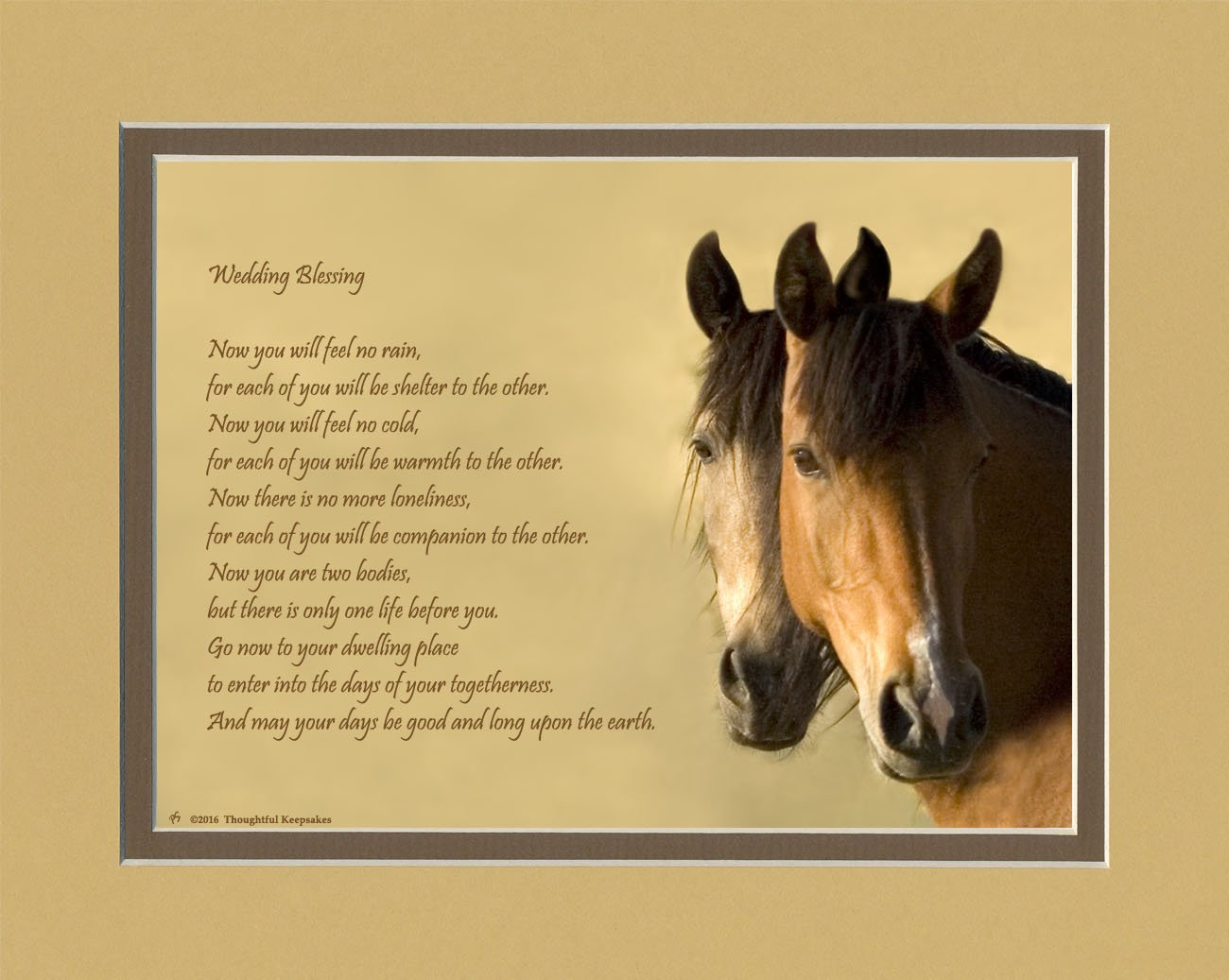 Wedding Gift for the Couple. Horses Photo with ''Now You Will Feel No Rain'' Wedding Blessing Poem, 8x10 Double Matted. Special Gift for Bride and Groom.