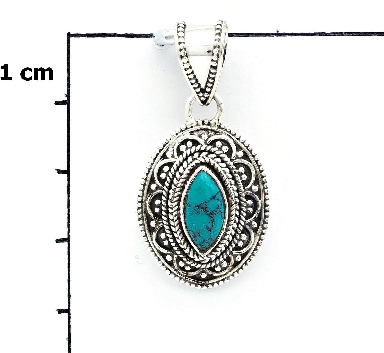 Pendentif argent 925 sterling avec turquoise No: MAH 135-15