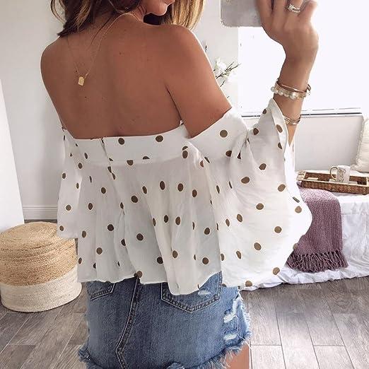 Amazon.com : HOSOME Women Top Women Summer Sexy Dot Printing Off Shoulder T-Shirt Vest Tank Tops Blouse : Grocery & Gourmet Food