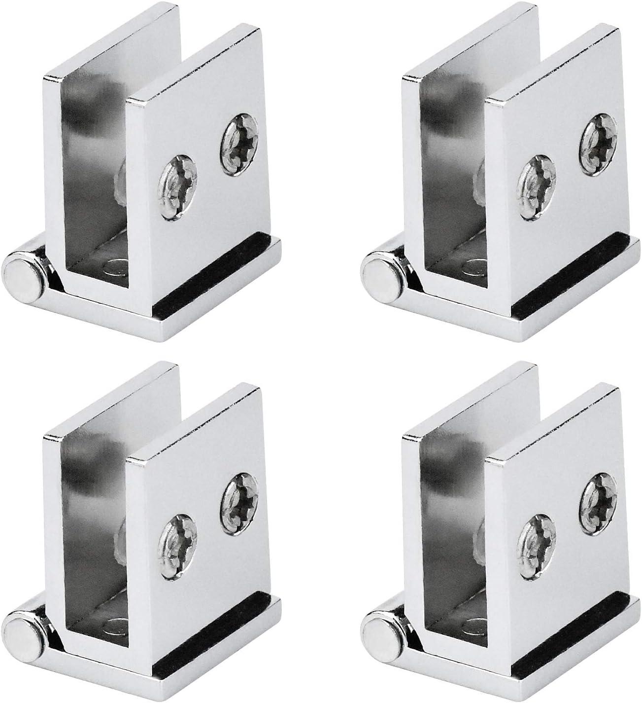 WEKON 4pcs Bisagra de Vídrio, Abrazadera de Puerta Cristal, Bisagra para Puerta Cristal Apto para Vidrio de 5-8MM Aleación de Zinc para Mueble Gabinete Vitrina Abertura 0 Grado