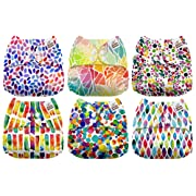 Mama Koala One Size Baby Washable Reusable Pocket Cloth Diapers, 6 Pack with 6 One Size Microfiber Inserts (Colorful Life)