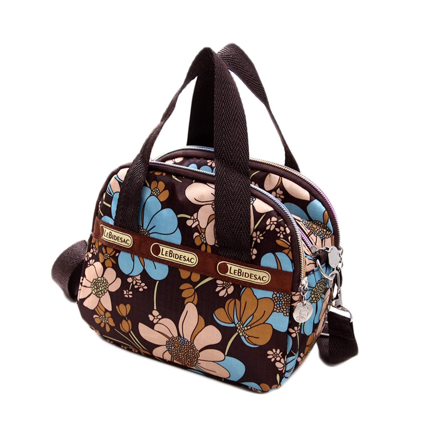 Women's Mini Nylon Floral Top Handle Tote Handbags Water Resistant Multi Pocket Zipper Shoulder Bag Crossbody Bags by Lichene (Image #1)