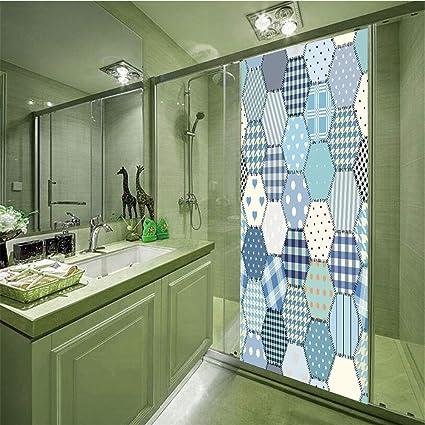Amazon com: 3D Privacy Glass Film No Glue,Cabin Decor,Blue