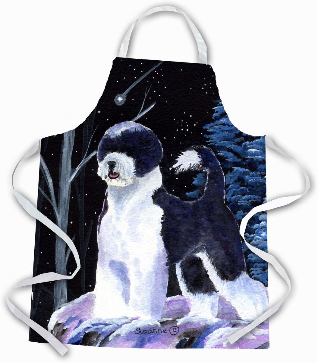 Amazon Com Caroline S Treasures Ss8399apron Starry Night Portuguese Water Dog Apron Large Multicolor Kitchen Dining