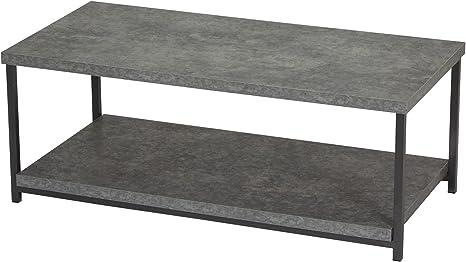 Amazon Com Household Essentials Coffee Table With Storage Shelf Faux Slate Concrete Furniture Decor