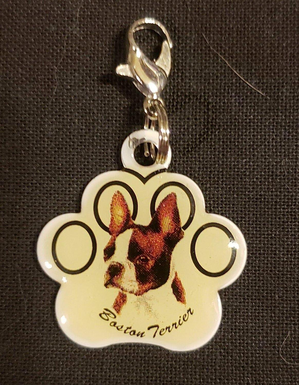 Boston Terrier Dangle Charm w//Lobster Clasp Silvertone KDW-1456