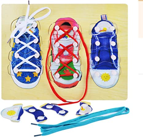 Melissa /& Doug Deluxe Wood Lacing Sneaker Learn to Tie a Shoe Educational Toy