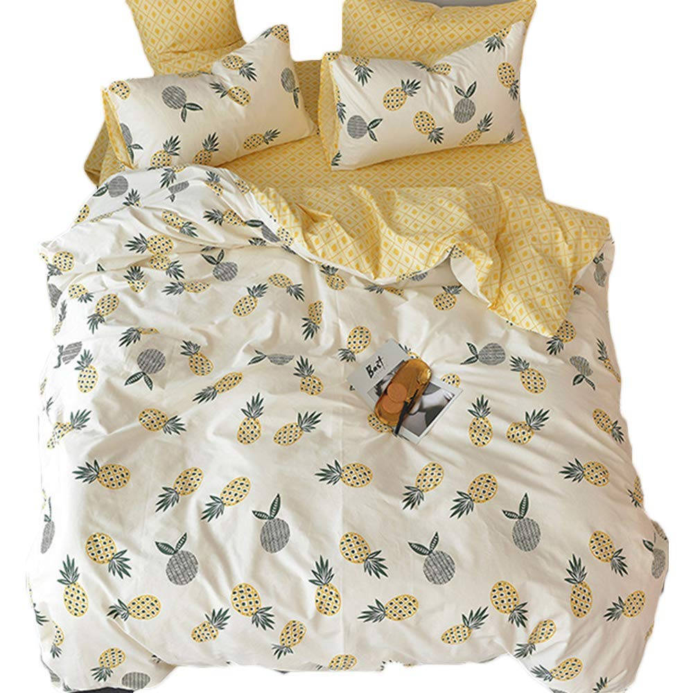 Feelyou Girls Duvet Cover Sets Full Size Yellow Pineapple Bedding Set Decorative Microfiber Polyester Comforter Cover with 2 Pillow Shams, Lightweight Fruit Print for Kids Boys 3 Pieces,Zipper