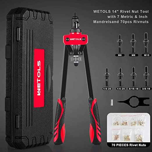 """5//16-18/"""" 3//8-16/"""" Supporting Wrench And Rugged Carrying Case Rivet Tool Set Pop Rivet Tool With 6 Metric /& SAE Mandrels M6 M8 M10 14 Professional Rivet Setter Kit 1//4-20/"""""""