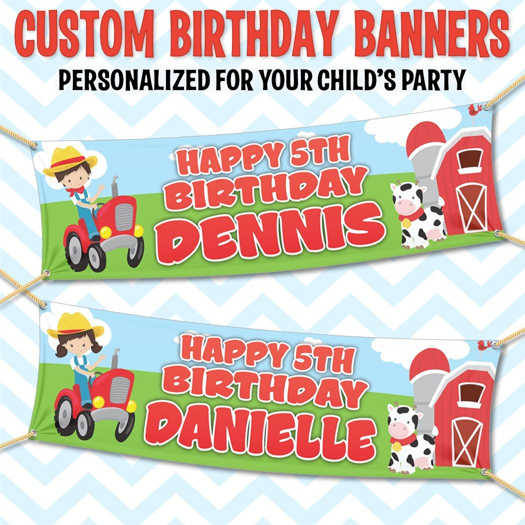 2 x FARM ANIMALS PERSONALISED PHOTO BIRTHDAY BANNER