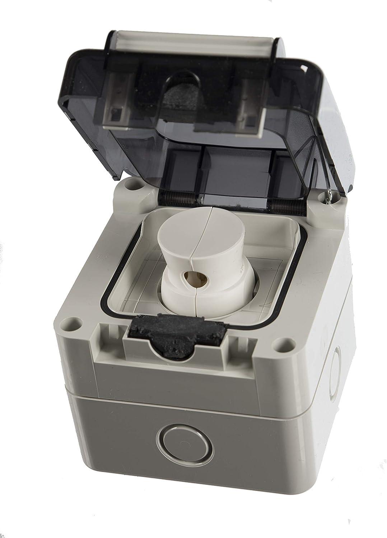 Toma de corriente empotrable o empotrada con protección IP66, fabricada en la UE con enchufe a juego: Amazon.es: Bricolaje y herramientas
