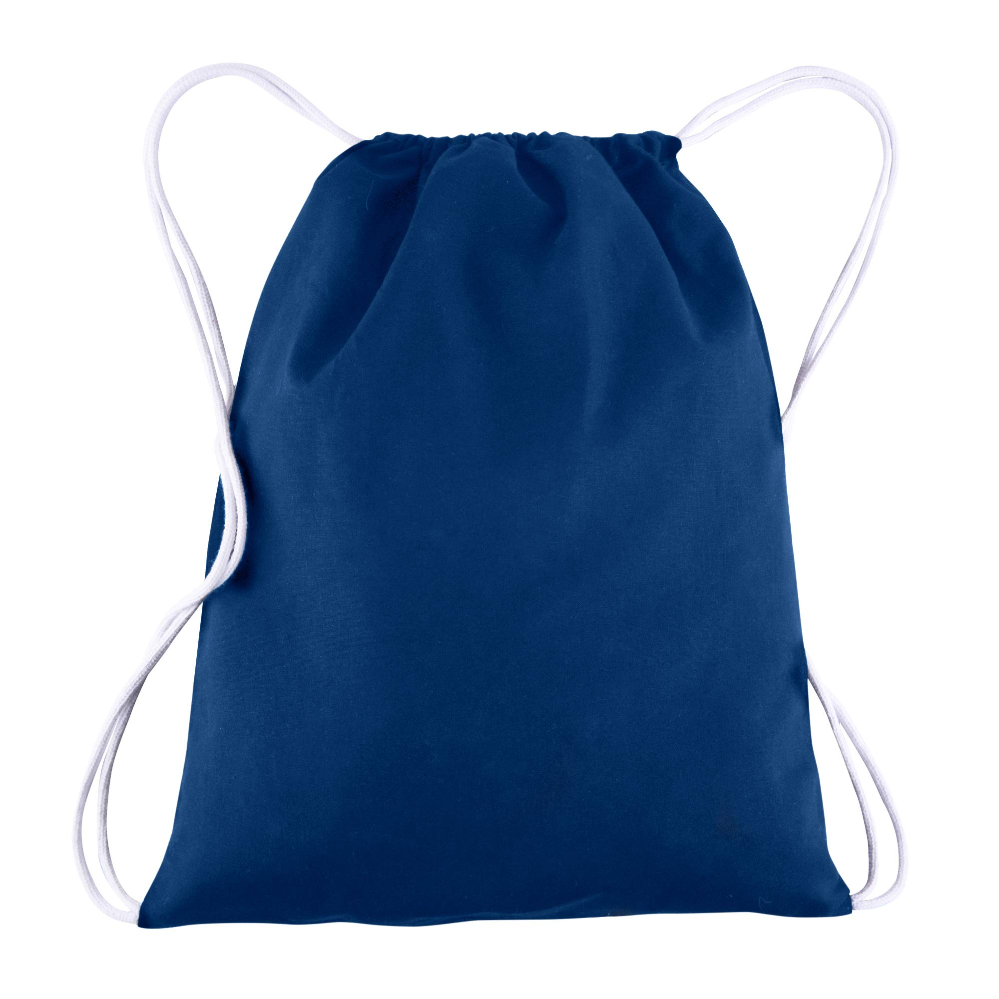 Canvas Drawstring Backpack Bulk Blank - 25 Pack - Wholesale Gym Sack Reusable and Customizable Cinch Bags 14X18 (Royal)