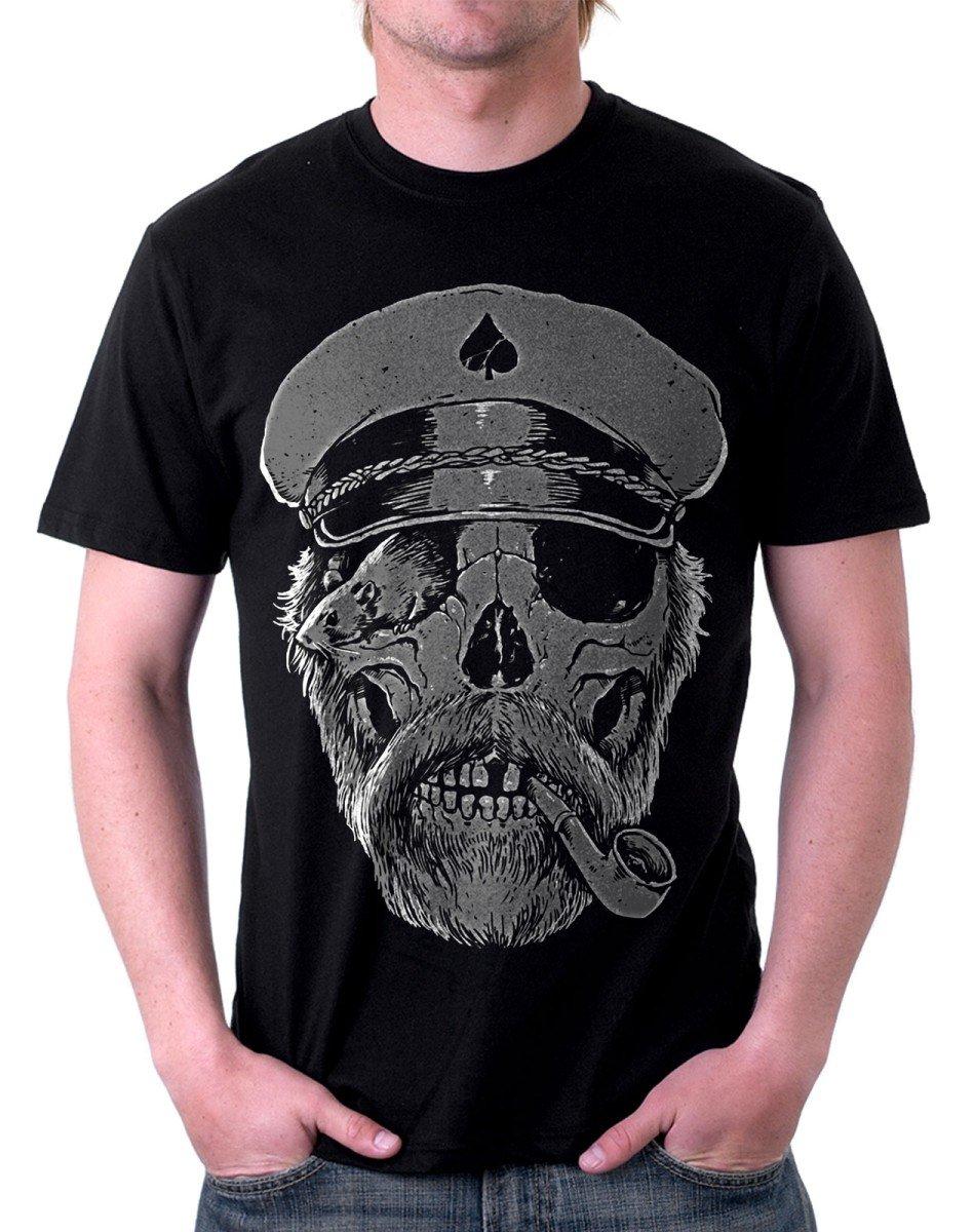 t-shirt NERA - LUPO DI MARE, TESCHIO CAPITANO DI NAVE - S M L XL XXL maglietta by tshirteria