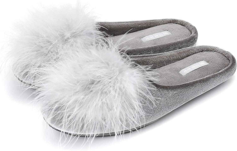 BCTEX COLL Women's Cozy Velvet Memory Foam House Slipper,Ladies Fuzzy Bedroom Slipper Non-slip Sole