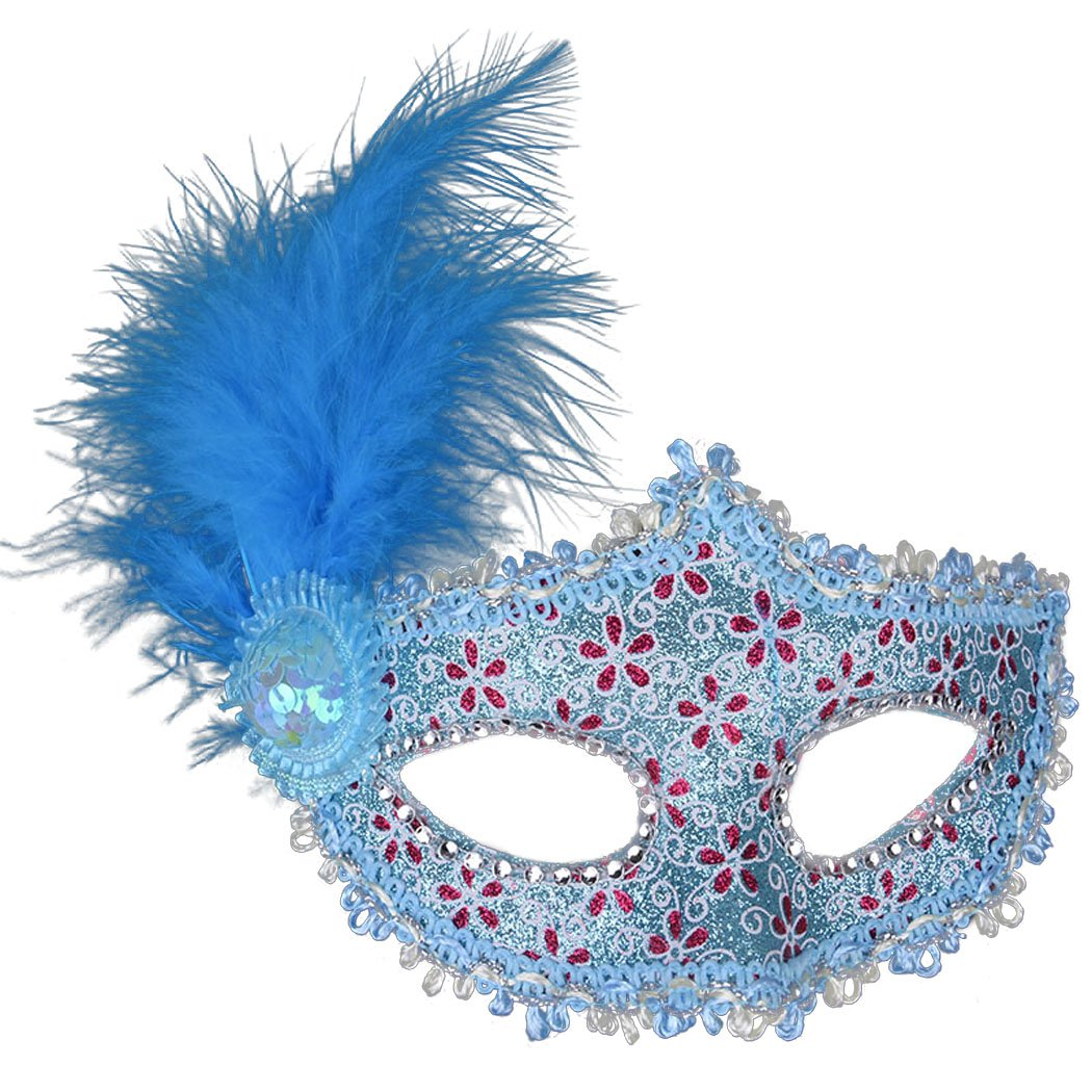 Venetian Masquerade Masks Mardi Gras Costume with Feather Flowers Coxeer V1611581QV23151