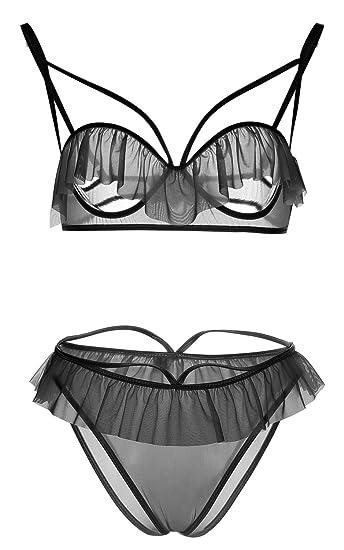 8f7238b336a Blidece Women 2 Piece Open Cup Cupless Sexy Lingerie Nightwear Babydoll and  Thong Set Black M