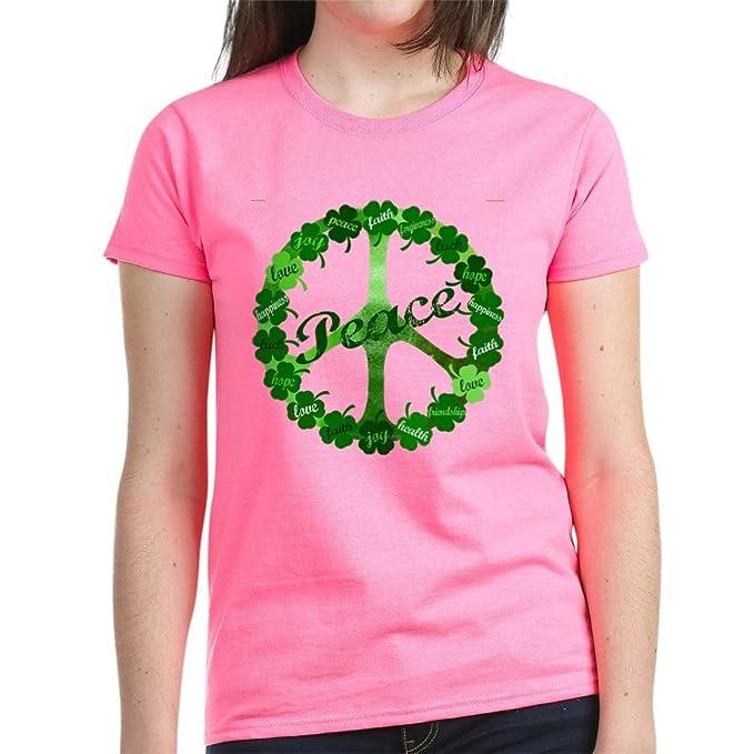 7adfc3af CafePress - Irish Peace Love and Shamrocks Women's Dark T-Shir - Womens  Cotton T