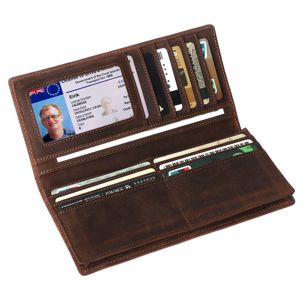 Mens Long Leather Wallet, LeatherFocus RFID Blocking Purse Money Clip (Brown)