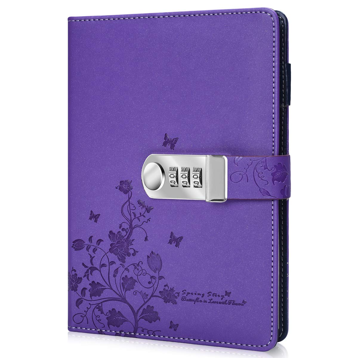 ARRLSDB PU Leather Journal with Lock, A5 Size Diary with Combination Lock Password Notebook Locking Personal Diary (Purple)