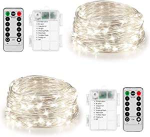 Koxly 2 Pack 20ft 60 Led Fairy Lights with Remote Timer Waterproof Christmas Decor Battery Operated Twinkle Firefly Lights for Bedroom, Garden, Easter, Party, Christmas Indoor and Outdoor Decorations