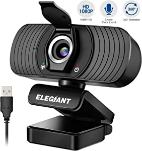 Webcam with Microphone, ELEGIANT 1080P HD USB Web Camera with Privacy Cover for Live Streaming/Video Calling/Recording Video Conference/Online Teaching/Business Meeting Compatible with Computer