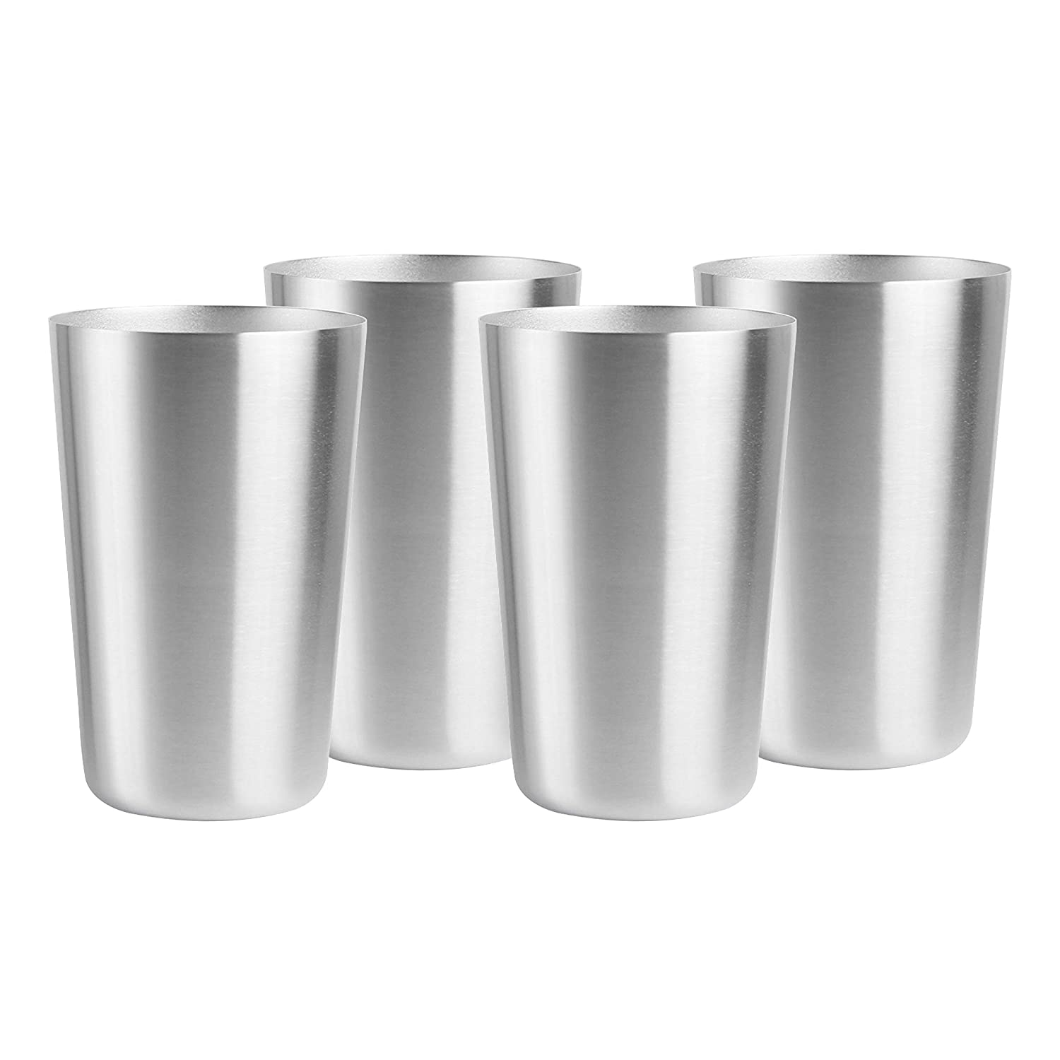 Pratico Kitchen Smooth Edge Stainless Steel Cups - Multi-purpose 16 oz Pint Glasses - 4 Pack SYNCHKG094319