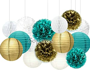 Sopeace 15 pcs White Teal Blue Gold 10inch 8inch Tissue Paper Pom Pom Paper Lanterns Mixed Package for Teal Themed Party Wedding, Bridal Shower Decor Teal Blue Baby Shower Teal Wedding Decoration