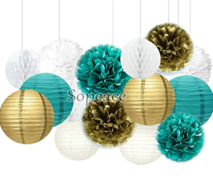 Sopeace 15 Pcs White Teal Blue Gold 10inch 8inch Tissue Paper Pom Lanterns Mixed Package For Themed Party Wedding Bridal Shower Decor