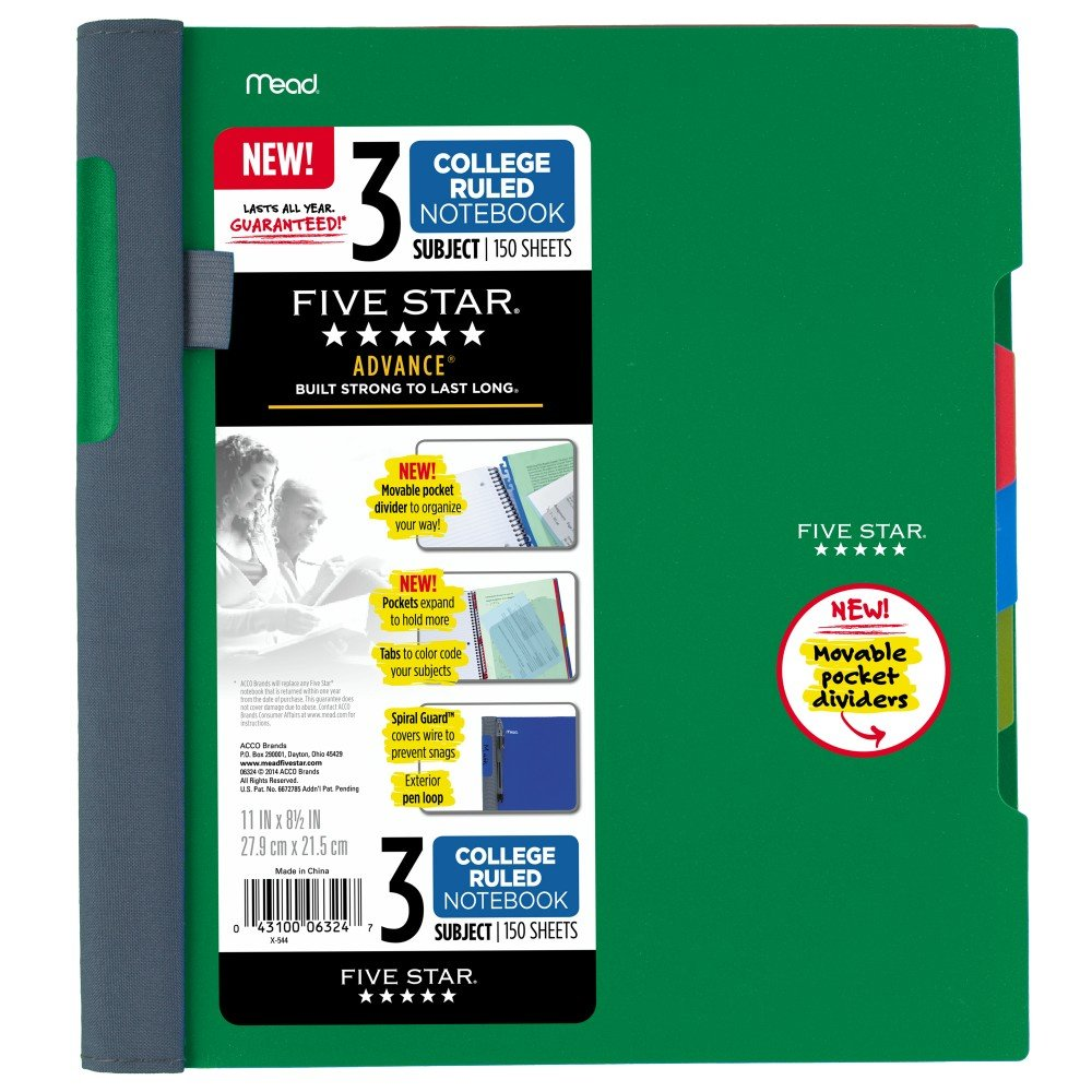 Five Star Advance Spiral Notebook 11 x 8.5 Inch Sheet Size 73136 150 College-Ruled Sheets 3-Subject Green