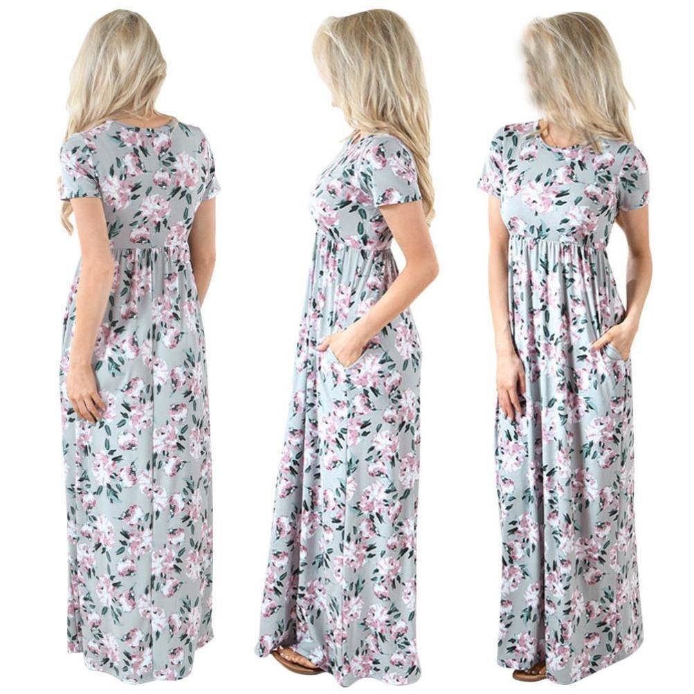 Gotd Women Floral Short Sleeve Summer Long Maxi Dress Sundress (S, Gray)